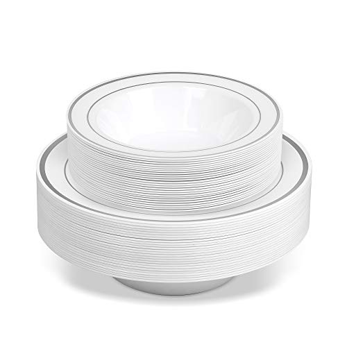 50 Disposable White Silver Rimmed Heavy Duty Plastic Bowls | 25 14 oz. Soup Bowls and 25 6 oz. Dessert/Appetizer Bowls | Premium Combo Disposable Dinnerware with Real China Design | Great for Parties