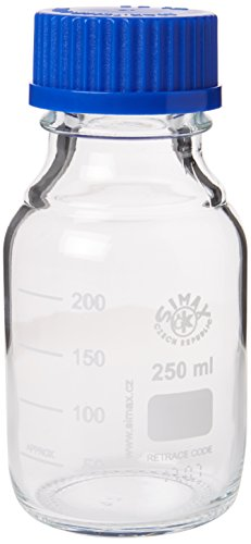 250ML BOROSILICATE GLASS LABORATORY REAGENT BOTTLE SIMAX (DURAN PYREX EQUIVALENT) by Simax