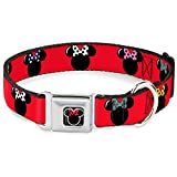 """Buckle-Down Seatbelt Buckle Dog Collar - Minnie Mouse Silhouette Red/Black/Polka Dot - 1"""" Wide - Fits 11-17"""" Neck - Medium"""