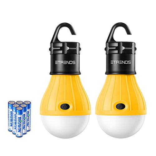 2 Pack E-TRENDS Portable LED Lantern Tent Light Bulb for Camping Hiking Fishing Emergency Lights, Battery Powered Lamp with 6 AAA Batteries, Yellow