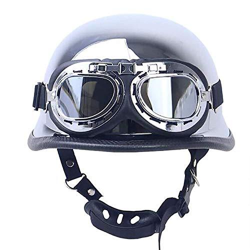 FlyingBoy Retro Half-Open Motorcycle Helmet, Silver-Plated Jet Helmet Cruiser Helmet DOT Certified Mobile Military Goggles,L