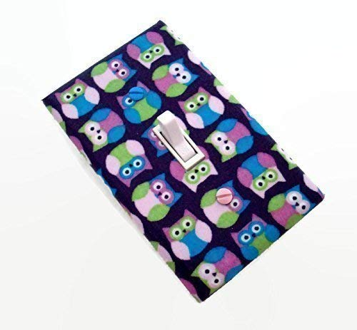Woodland Owls Switch Plate Cover Pink Green and Aqua on Dark Purple - Dark Switchplates