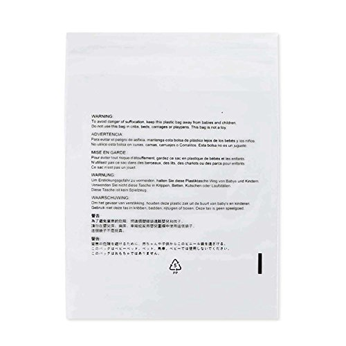 Komodo Clear Self Seal Poly Bags, 1.5 Mil, Resealable I Size Option: 6x9 8x10 9x12 11x14 14x20, Suffocation Warning in 7 Languages, for International and USA Seller (6