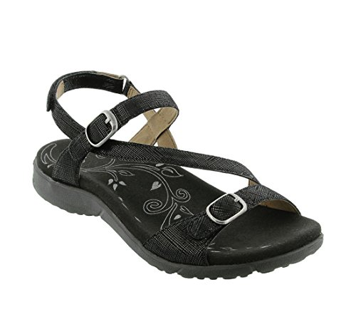 Taos Women's Beauty Black Printed Leather Sandal 8 B (M) (Black Printed Leather)