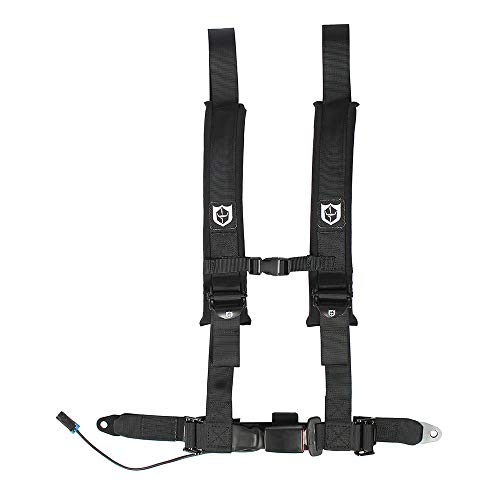 (Pro Armor A16UH348BL Auto Style 4 Point Harness 2 Inch Lap Seat Belt Straps Black Driver Side)