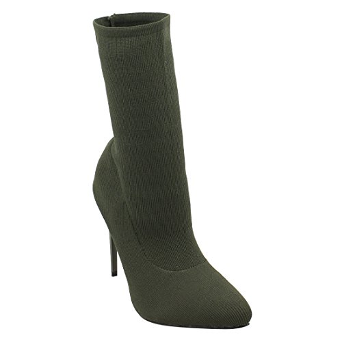 Beston EJ68 Womens Stretchy Pull On Ankle High Top Sock Booties Half Size Small Olive nkAL2kj