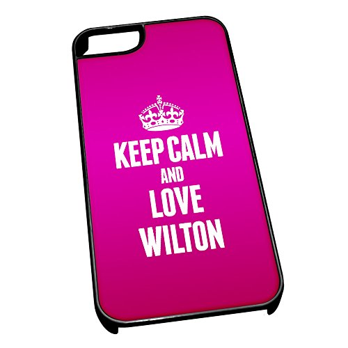 Nero cover per iPhone 5/5S 0717 Pink Keep Calm and Love Wilton