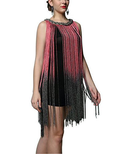 Embellished Neck 1920s Fringe Tassel Charleston Tango Dance Dress Red/black
