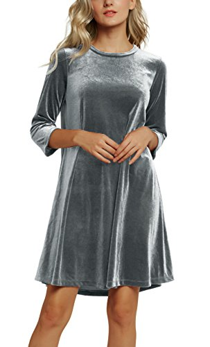 (Urban CoCo Women's Velvet Party Dress 3/4 Sleeve Cocktail Dress (S, 2 Gray) )
