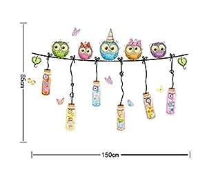 Owls Drift Bottles Wall Decal Home Sticker PVC Murals Vinyl Paper House Decoration WallPaper