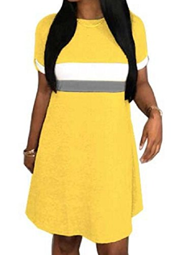 Short Sleeve Spell Color Coolred Crewneck Shirts Women T Yellow Striped Dress UgUw7qa