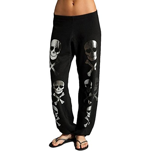 ZZhong Women's Hip Hop Skull Pattern Trousers Full Length Baggy Harem Pants Black L by ZZhong Clothes