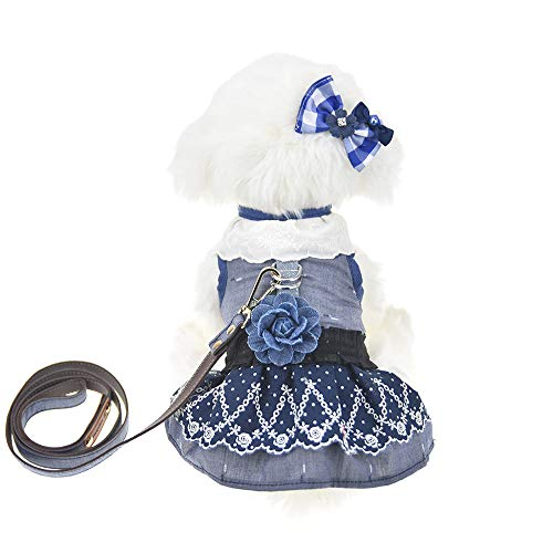 FLAdorepet 3Pcs Dog Pet Cat Dress Harness and Leash Set Small Dog Clothes Shirt Costume Dog Skirt,Dress,Hair Bow (S, Blue)