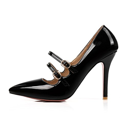 Toe Agodor Heel Patent Women's Buckle Pointed High Stiletto Elegant Shoes Leather Black Pumps Summer zrfqz