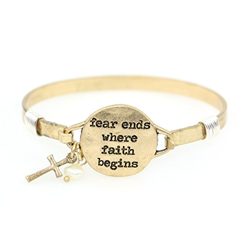 "Design Cross Charm - ""Fear Ends Where Faith Begins"" Handmade Beautiful Christian Bangle Bracelet with Wire Design and Cross Charm and Bead"