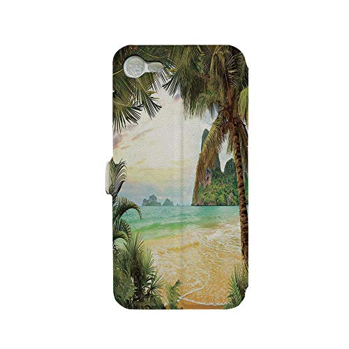 Island Paradise Leather - Phone case Compatible with iPhone 7 iPhone 8 3D Printed PU Skin Cover Protection Sleeve,Ocean Waves Across Mountains on Paradise Island,Premium PU Leather Magnetic Flip Folio Protective iPhone case