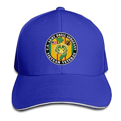 JimHappy U.S. Army Drill Sergeant Vietnam Veteran Durable Baseball Cap Hats,Adjustable Peaked Sandwich Cap Blue