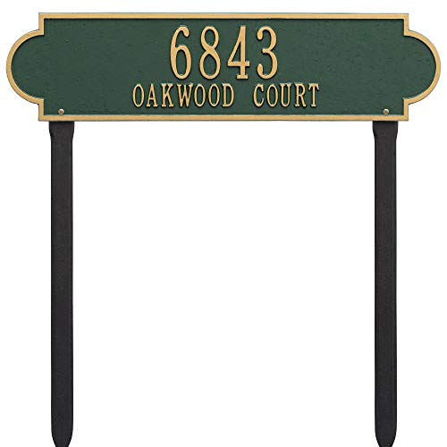 (Whitehall Products Richmond Rectangular Green/Gold Estate Lawn Two Line Horizontal Address Plaque)