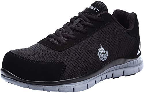 LARNMERN Steel Toe Shoes Men, Work Safety Sneakers Reflective Strip Lightweight Industrial & Construction Shoe /9/Matte Black