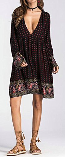 Loose Dress Deep Black Bohemia Backless Womens Print Sexy Swing Cromoncent V pxEHSWAwnq