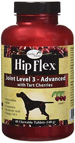 NaturVet - Overby Farm Hip Flex Joint Level 3 -Advanced Formula-Great For Joint Surgery Recovery & Senior Dogs-Enhanced with Glucosamine, MSM, Chondroitin, Hyaluronic Acid & Omegas-40 Chewable Tablets