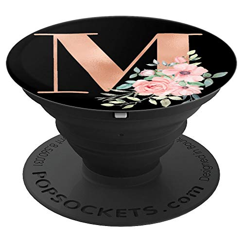 Rose Blush Black Monogram Letter M Pretty Pink Flowers - PopSockets Grip and Stand for Phones and Tablets