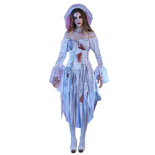 Hlidpu Cosplay Party Ghost Bride Dress Women Sexy White Lace Corpse Bride Dress Halloween Cosplay Party Costume Dresses,E,XL