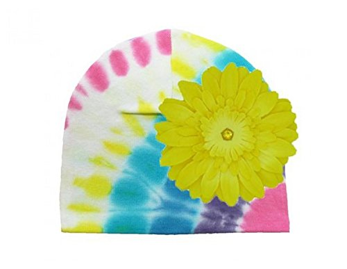 Pastel Yellow Daisy (Pastel Tie Dye Hat with Yellow Daisy, Size:)