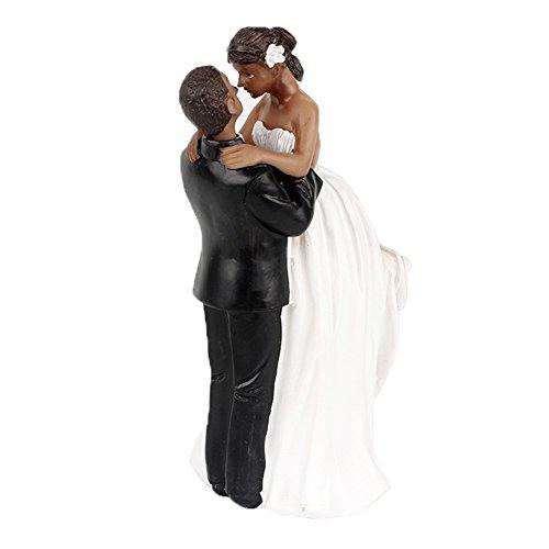 yepmax Wedding Cake Toppers African American Wedding Figurine Happinest Time 6.5x3x2.3 (Elegant Wedding Cake Toppers)