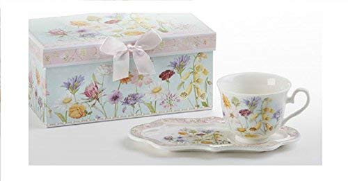Delton Products Wildflower 4.2 inches x 9 inches Porcelain Tea & Toast Set Drinkware -