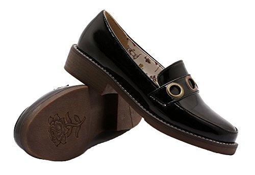 AgooLar Damen Ziehen auf Rund Zehe Niedriger Absatz Lackleder Rein Pumps Schuhe Schwarz