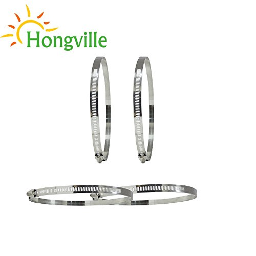 Hongville 6 inch 4 PCS Adjustable Stainless Steel Worm Gear Hose Clamps by Hongville