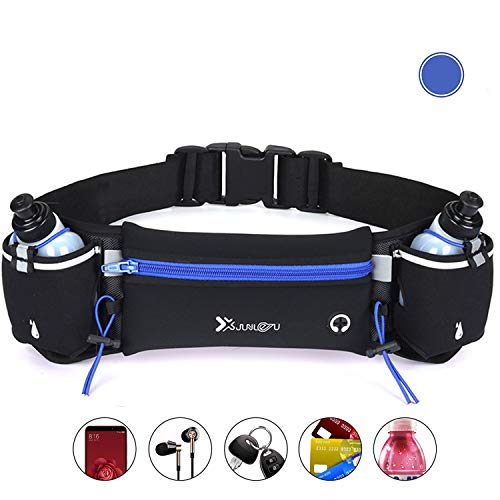 CS Force Running Pouch Belt, Runner Belt Waist Pack Adjustable Hydration Running Pouch with 2 Water Bottles Hands-Free Workout Fanny Pack for Running Hiking Cycling Climbing Jogging Yoga