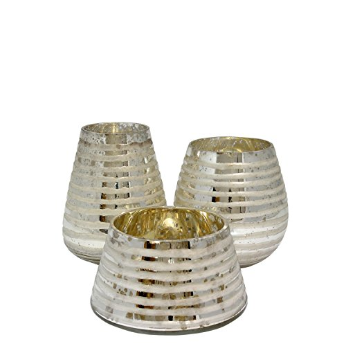 Milano Mercury Glass Vase/Candle Holder, Set of 3