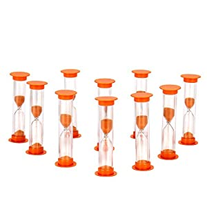 Sand Timer Set Orange 10pcs Pack (1 Minute) - Set of One Minute Hour Glasses for Kids, Adults - Comes in a Premium Box by Jade Active