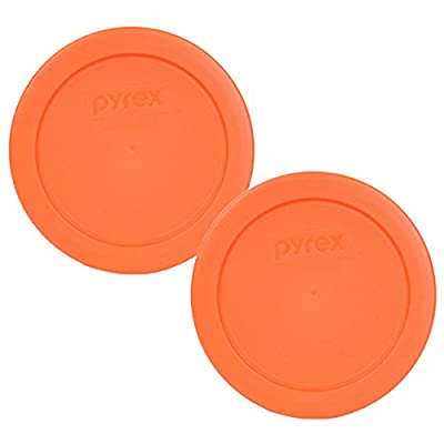 "Pyrex Orange 2 Cup 4.5"" Round Storage Cover #7200-PC for Glass Bowls - 2 Pack"