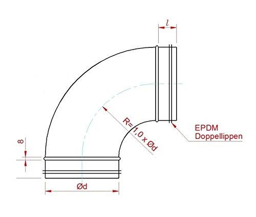 80 100 125 150 160 180 200 Intelmann Wickelfalzrohr Bogen /Ø 150 mm 90/°