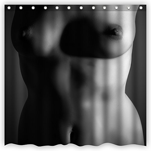 Atwtow Beautiful Sexy Woman Perfect Hot Body Nude Girl Big Breasts Custom Art Bathroom Shower Curtain,72-Inch by 72-Inch,Unique and Generic Waterproof Polyester Fabric Decorative Bath Curtain Designs