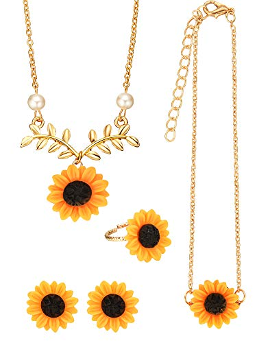 5 Pieces Totally Sunflower Shape Necklace Drop Petal Pendant Necklace with Faux Pearl, Sunflower Bracelet Earrings Ring for Women Jewelry Accessories (Style Set 2)