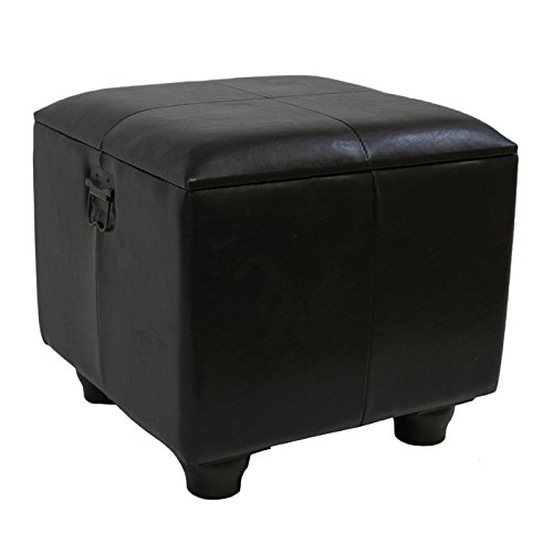 International Caravan YWLF-2188-BR-IC Furniture Piece Square Faux Leather Ottoman w/Lid, 0