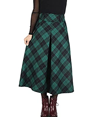 Femirah Women's Fall Winter Plaid Pleated Skirt Long Woolen Skirt