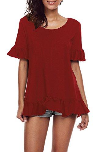 New vino rosso Ruffle Trim a maniche corte camicia donna estate camicia top casual Wear taglia UK 16EU 44