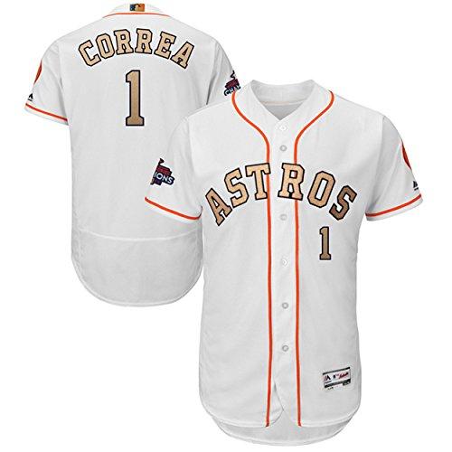 Majestic Athletic NO.1 Mens Carlos Correa Houston Astros 2018 Gold Program Baseball Jersey – White (Size 44)