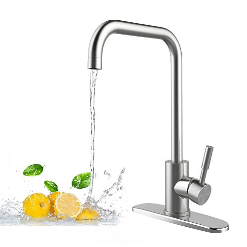 Food-Grade kitchen Faucet,Hot & cold Single Lever Control 30% Water-saving Kitchen Sink Faucet - Easy Install For Commercial with home Bathroom bathtub Outdoor Garden and Bar. by DULEES