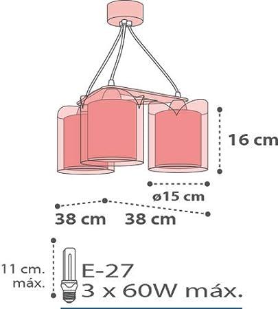 Rosa Kunststoff 60 W Dalber H/ängelampe 3-Leuchten Little Birds