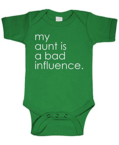(My Aunt is A Bad Influence - Cotton Infant Bodysuit, 24m, Green)