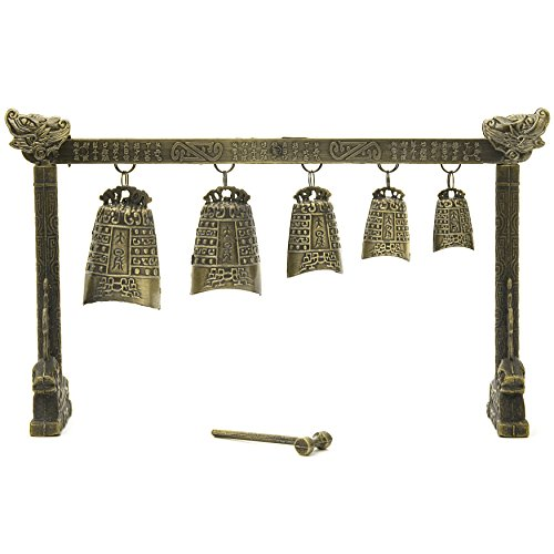 Oriental Furniture Tibetan Five Bell Gong