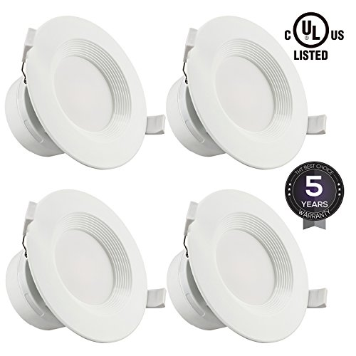 "4 PACK 4""LED Recessed Downlight with Junction Box, 7W (60W Equivalent)Dimmable LED Ceiling Light Fixture, IC-Rated & Air Tight, Wet Location, 5000K Daylight, UL-listed, 5 Years Warranty"