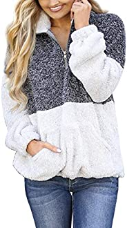 MEROKEETY Women's Long Sleeve Contrast Color Zipper Sherpa Pile Pullover Tops Fleece with Po