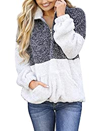 Women's Long Sleeve Contrast Color Zipper Sherpa Pile Pullover Tops Fleece with Pocket